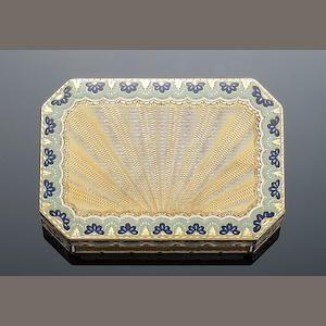 An early 19th century Swiss gold and enamelled 'Turkish Market' snuff box, by Jean-George Rémond, Geneva 1807-1814,