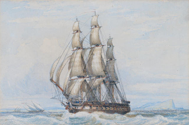 John Ward of Hull (British, 1798-1849) Ship off Gib ?????????????