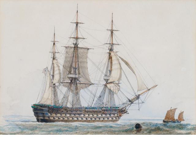 John Ward of Hull (British, 1798-1849) 3-master  & wee boat on right ?????????????????