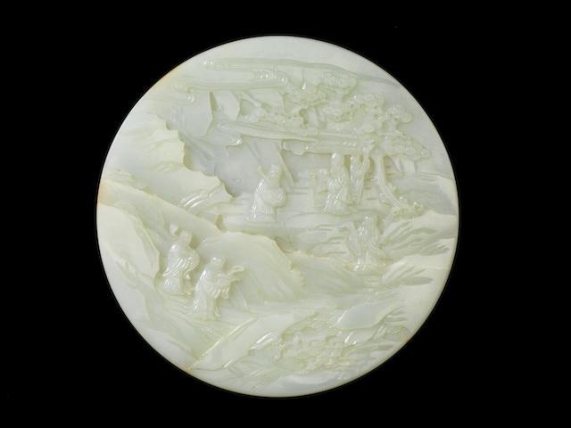 A rare Imperial white jade circular table screen Qianlong/ Jiaqing