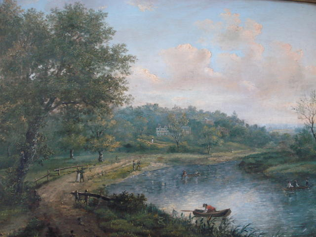 Follower of Alexander Nasmyth River landscape with anglers other figures and boats, inscribed verso, oil on canvas, 32 x 44cm