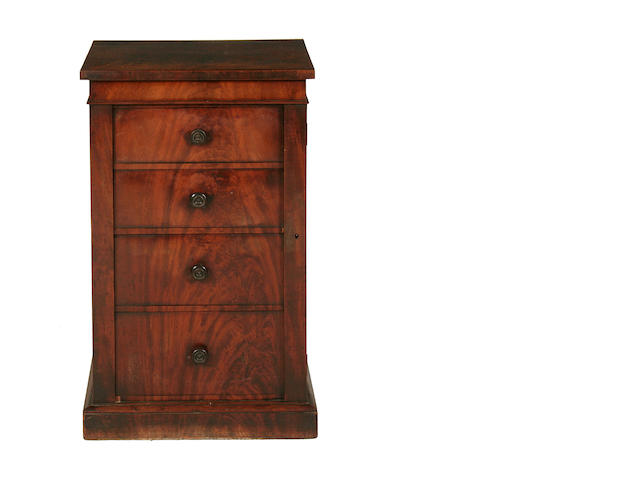A small William IV mahogany Wellington chest