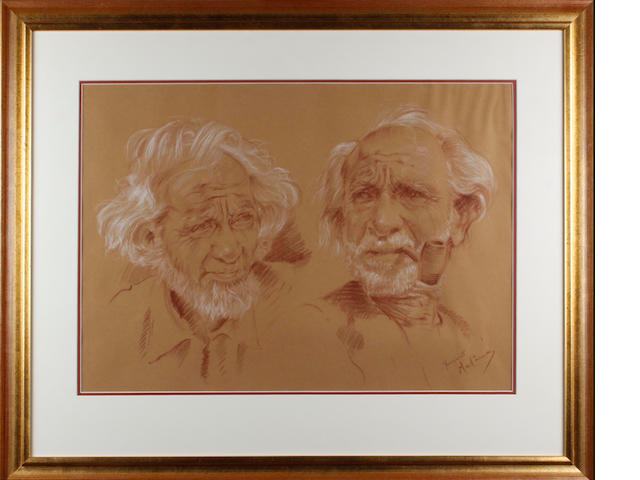 Franco Matania (British, 20th Century) Double portrait of an old man