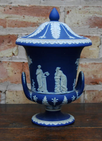 A Wedgwood Jasperware vase and cover