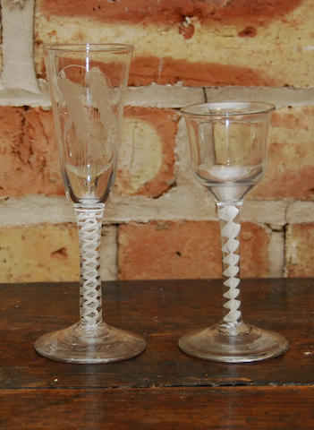 Two opaque twisted glasses