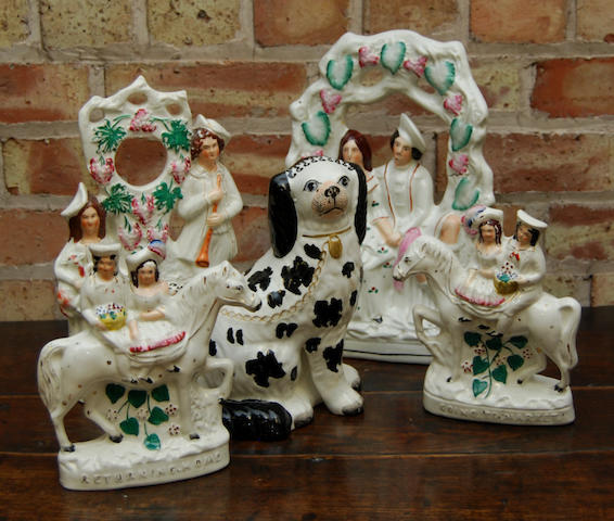 A group of Staffordshire figures