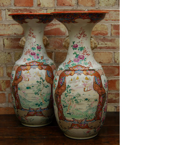 A pair of large Japanese vases