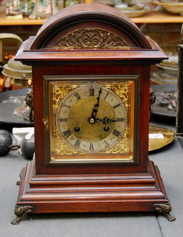 A walnut cased bracket clock