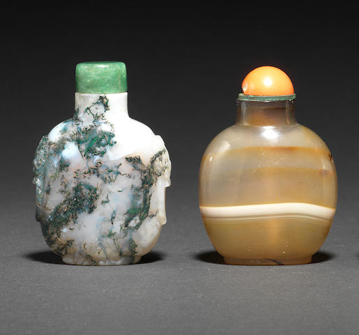 Six chalcedony agate snuff bottles 1760-1880