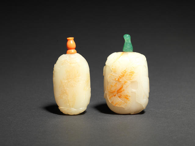 Two pale green jade snuff bottles 18th/19th century