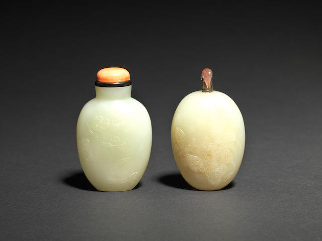 Two pale green jade snuff bottles 18th century