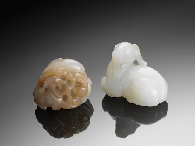 Two small jade 'ram' carvings 18th/19th century