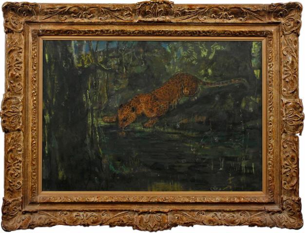 John Macallan Swan (British, 1847-1910) Leopard drinking at a pool