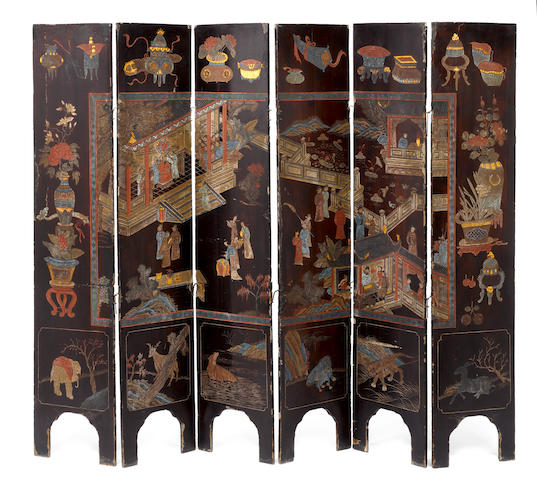 A coromandel brown lacquer six-panel screen 18/19th century