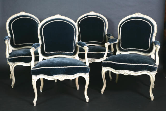 A set of four French 18th century Louis XV cream-painted fauteuils à la Reine By Antoine Nicolas Delaporte, Paris,
