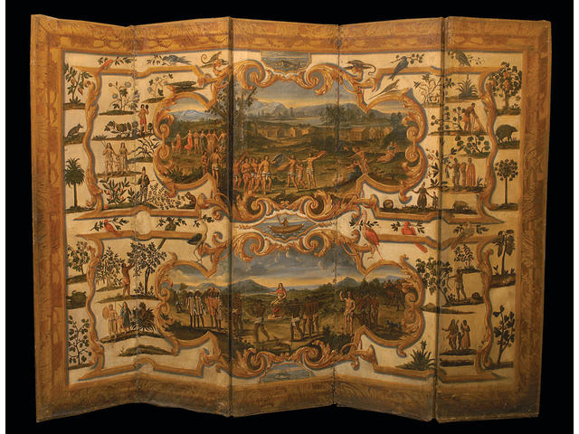 An Important French 18th century double-sided five-fold painted screen, depicting the continents of America, Africa and Asia,