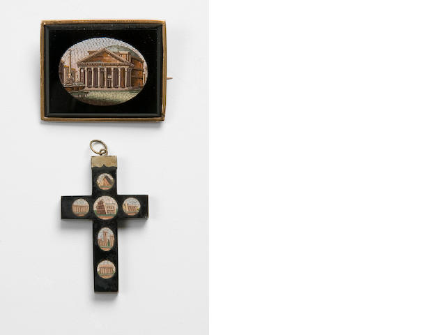 A late 19th century micro-mosaic rectangular brooch and cross