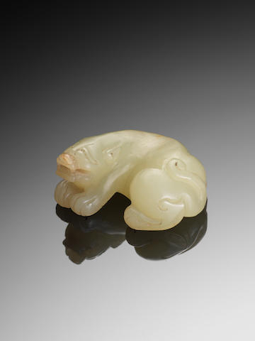 A yellow jade carving of a mythical beast 17th/18th century