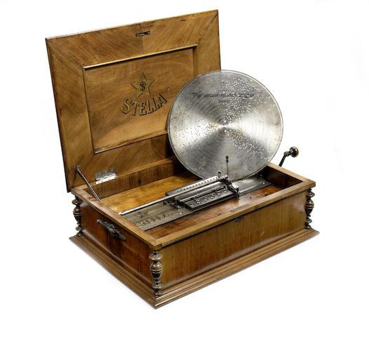 A 17.1/4-inch Stella disc musical box, circa 1900,