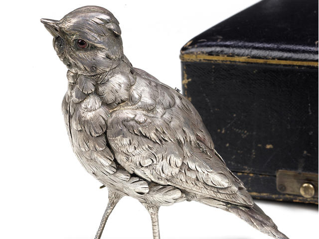 An important silver standing singing bird automaton, circa 1880, movement most probably Bontems,
