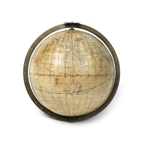 A 4-inch manuscript terrestrial globe, English, late 18th century,