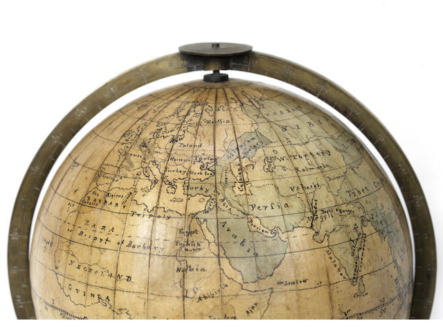 A 4-inch manuscript terrestrial globe,  English,  late 18th century,