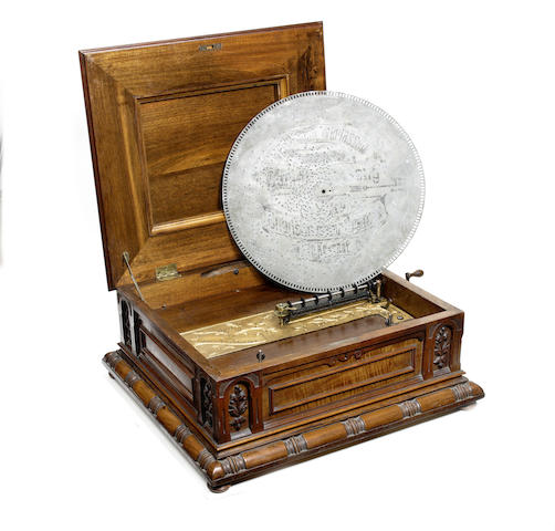 A good 20.1/2-inch Troubadour disc musical box, circa 1898,