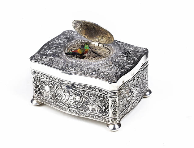 A silver singing bird box, by K. Griesbaum, Model 14B, circa 1930,