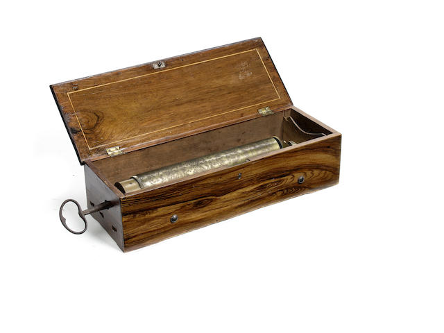 An early key-wind musical box, by Réymond Nicole, circa 1830, formally exposed control type, presently in later case,
