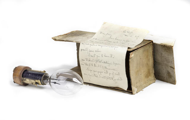 Sir Joseph Swan - an early patent model electric light bulb, with socket assembly, circa 1881, with carton,