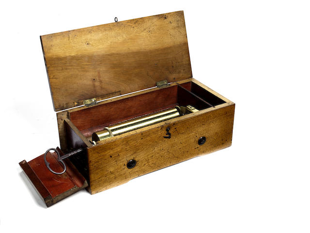 A keywind musical box playing four airs, by Langdorf,  circa 1859,