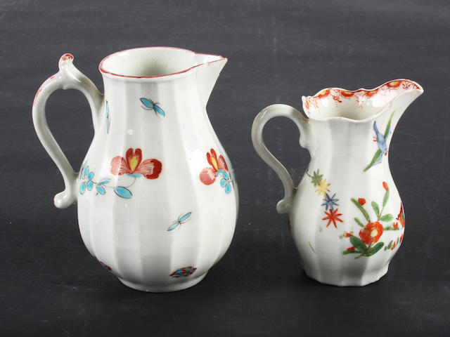 A Worcester faceted cream jug and a fluted sparrow beak jug Circa 1765-70 and circa 1768.