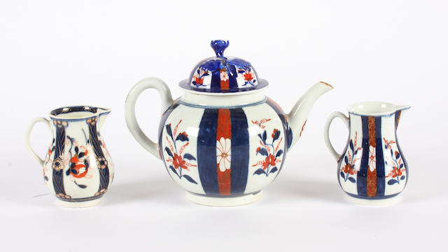 Two Worcester sparrow beak jugs and a teapot Circa 1768-70.