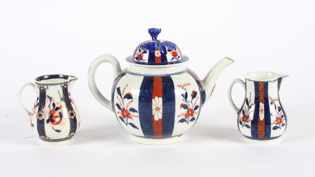 Two Worcester sparrow beak jugs and a teapot Circa 1768-70.