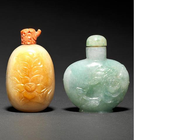 Four jadeite snuff bottles 19th/20th century