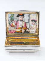 A mid-18th century Northern European silver and enamel snuff box, apparently unmarked,