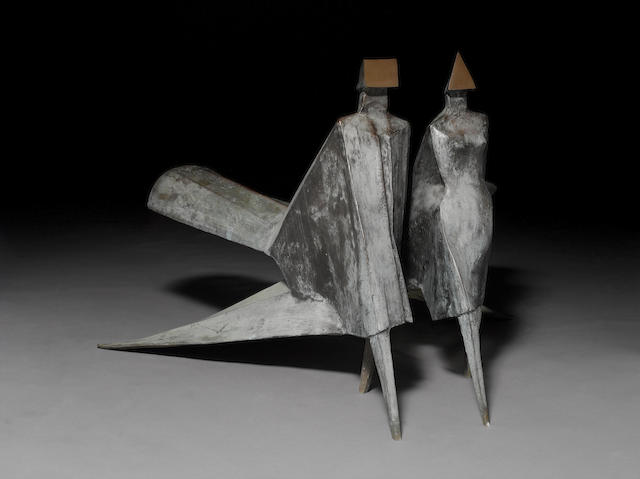 Lynn Chadwick (British, 1914-2003) Maquette Jubilee II 1983 Male: 89 cm. (35 in.) high; Female: 91 cm. (36 in.) high