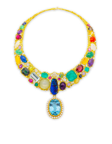 A gem-set bib necklace