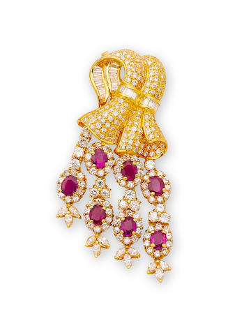 A ruby and diamond pendant/brooch