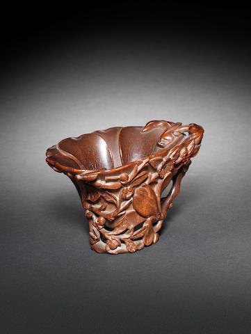 A fine rhinoceros horn 'magnolia' libation cup 17th/18th century