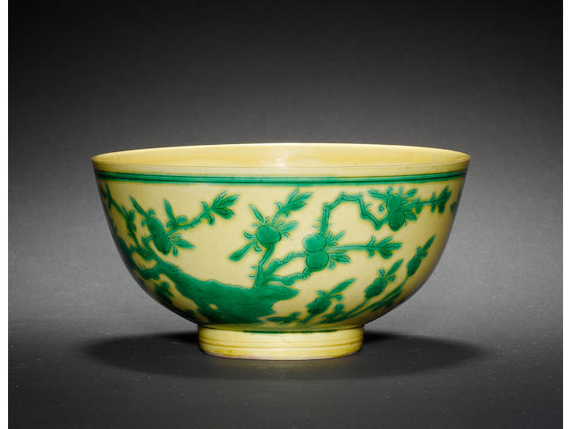 A yellow and green-enamelled bowl Kangxi six-character mark