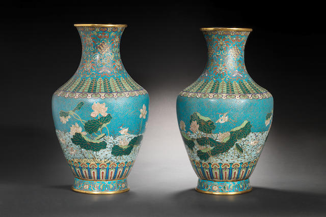 A very large and rare pair of cloisonné enamel vases Intaglio Qianlong seal marks and of the period