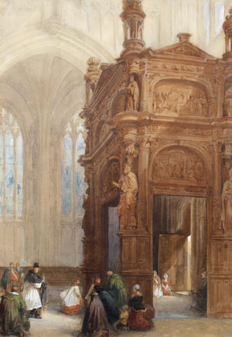 David Roberts, RA (British, 1796-1864) Church interior
