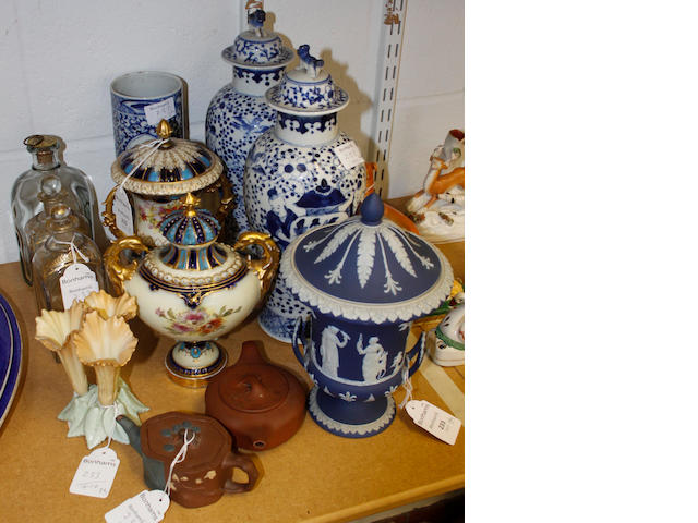 A group of ceramics and glass,