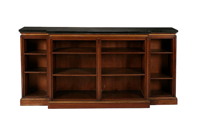 An oak breakfront dwarf open bookcase