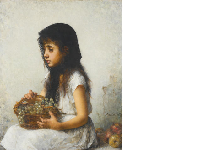 Alexei Alexeevich Harlamoff (Russian, 1840-1925) Young girl with grapes