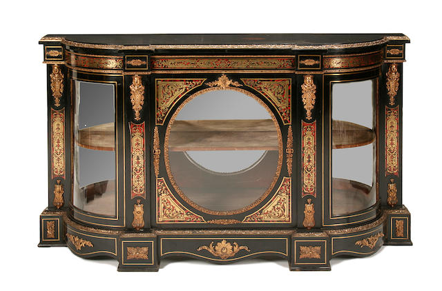 A Napoleon III ormolu-mounted red tortoiseshell and cut brass 'boulle' credenza