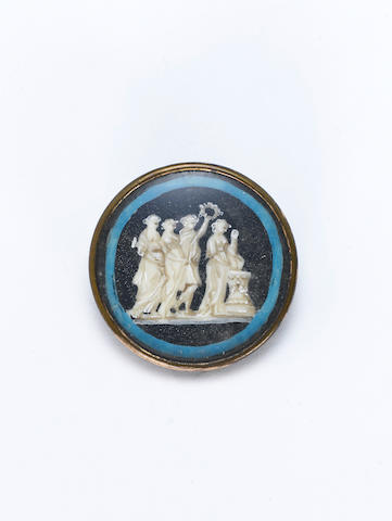 An unusual 19th century set of six miniature on ivory mounted buttons, attributable to Piat Joseph Sauvage (French 1744-1818),  (6)