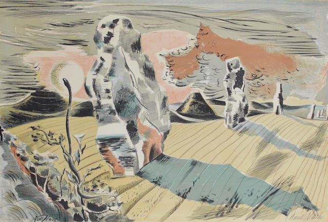 Paul Nash (British, 1889-1946) Landscape with Megaliths Colour lithograph, 1937, on thin wove, signed in pencil, published by Contemporary Lithographs; 520 x 765mm (20 1/2 x 29 7/8in)(unframed)