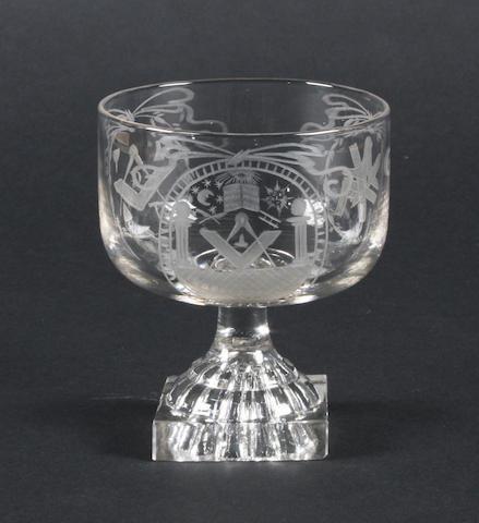An engraved Masonic rummer Circa 1800.